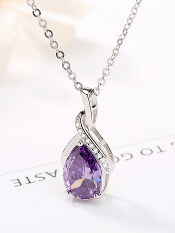 Elegant 925 Sterling Silver With Rhinestone Necklaces For Women
