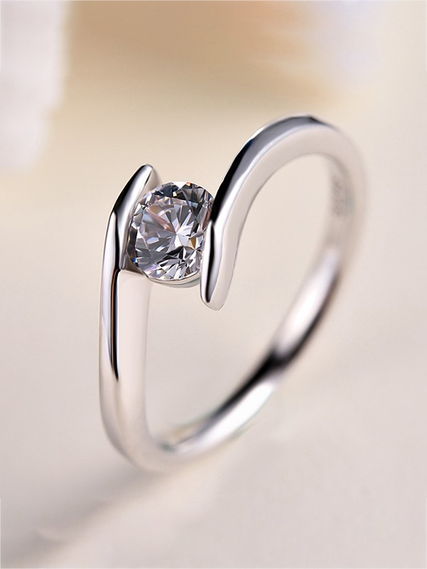 Beautiful S925 Silver With Zircon Hot Sale Wedding Rings