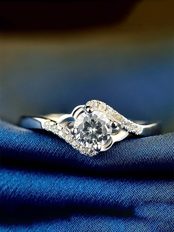 Beautiful S925 Silver With Zircon Adjustable Wedding Rings