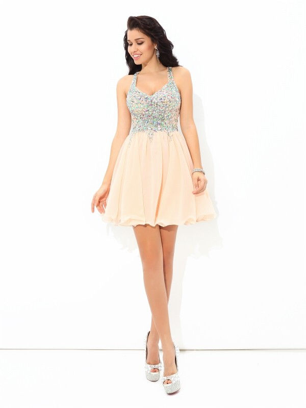 hot products selected material nice cheap Creative Courage Princess Style Straps Rhinestone Short Chiffon Cocktail  Dresses