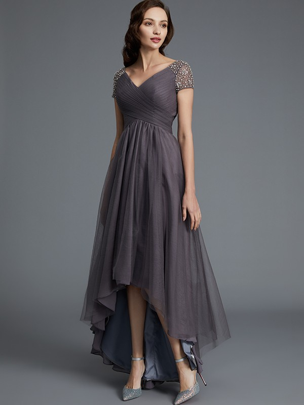 Stylish Refresh Princess Style V Neck Asymmetrical Tulle Mother Of The Bride Dresses