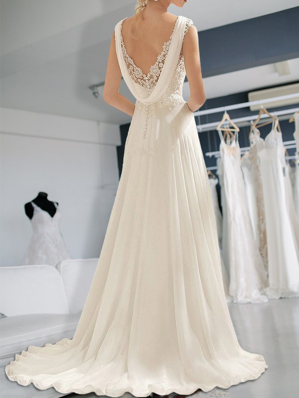 Cordially Delighted Empire Floor Length V Neck Lace Chiffon Wedding Dresses