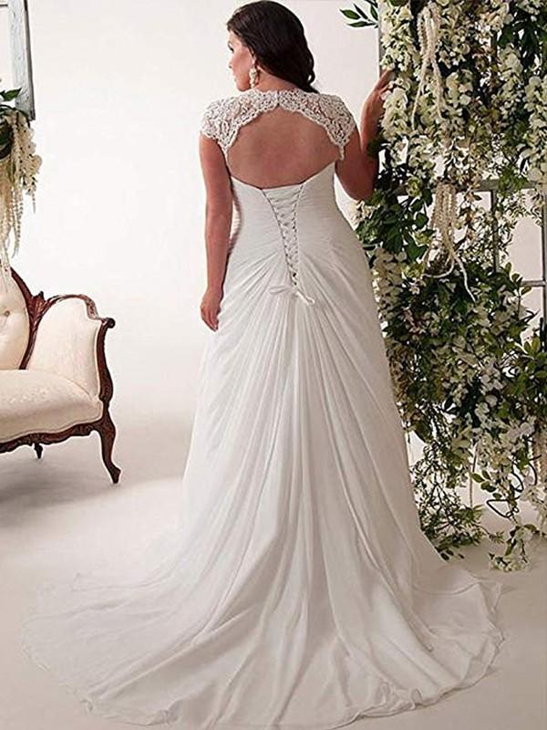 Festive Self Empire Sweetheart Lace Sweep/Brush Train Chiffon Plus Size  Wedding Dresses