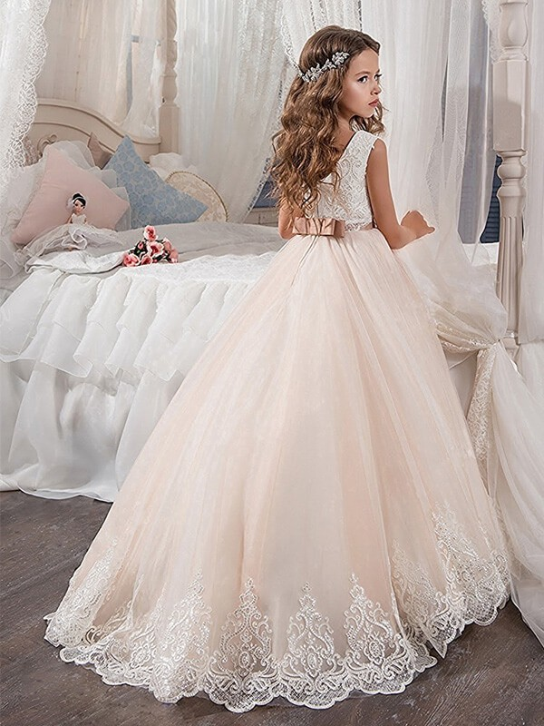 Just My Style Ball Gown Jewel Lace Sweep Brush Train Tulle Flower Girl Dresses Joybetty Online,Dress To Wear To A Wedding In November